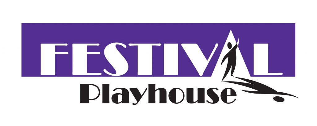 Festival Playhouse Logo. Purple and black text with a figure on stage