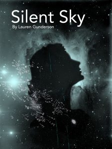 The Silent Sky play poster of a dark profile of a woman in the sky. The play is by Lauren Gunderson.