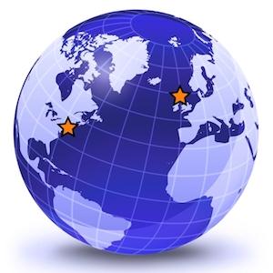 Blue Globe featuring the Atlantic Ocean. Orange stars on New York City and Northern Ireland.